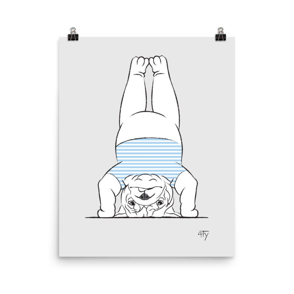 Load image into Gallery viewer, Poster, English Bulldog Yogi, Headstand, Blue