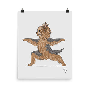 Load image into Gallery viewer, Poster, Yorkshire Terrier Yogi, Warrior II, Fun Nursery Décor, Yoga Studio Décor