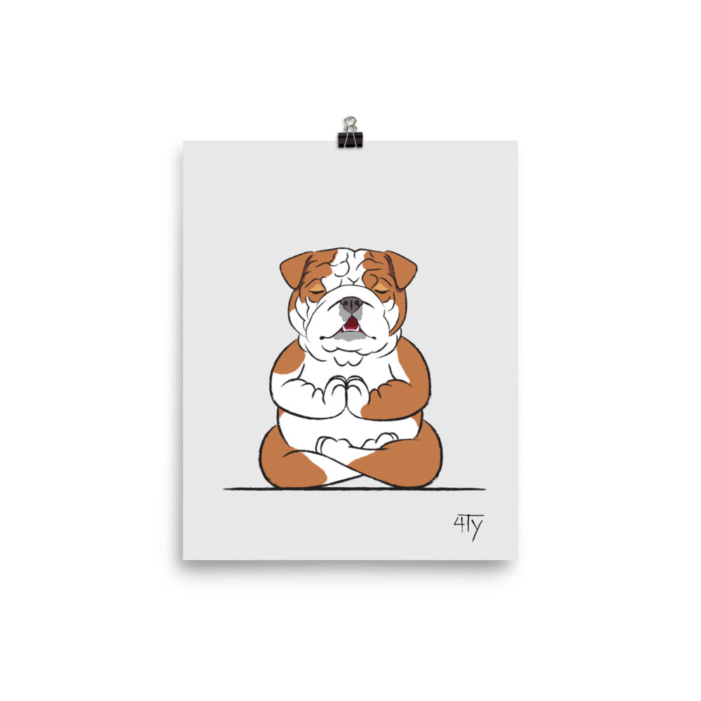 Load image into Gallery viewer, Poster, English Bulldog Yogi, Lotus Pose, Color
