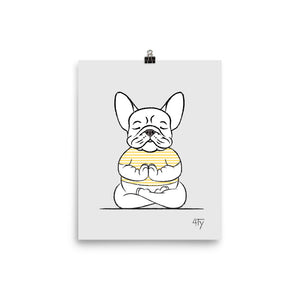 Load image into Gallery viewer, Poster, French Bulldog Yogi, Lotus Pose, Yellow