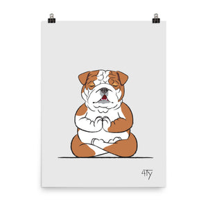 Poster, English Bulldog Yogi, Lotus Pose, Color