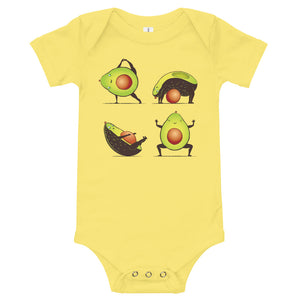 Fun Avocado Yoga Baby Onesie
