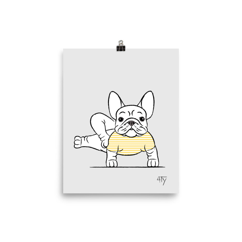Load image into Gallery viewer, Poster, French Bulldog Yogi, Side Craw Pose, Yellow