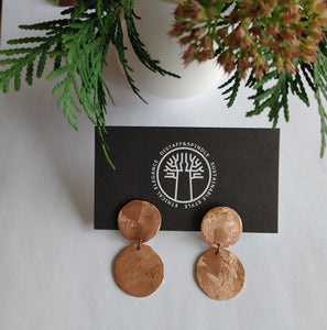 Copper Double Moon Penny Earrings