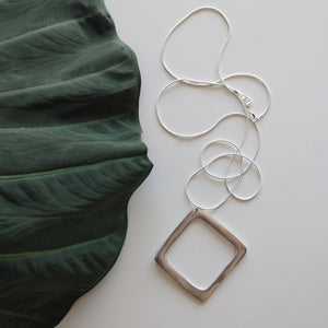 Aluminum Pendant on Long Silver Chain
