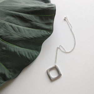 Aluminum Pendant on Short Silver Chain