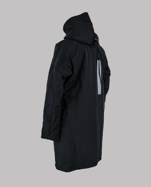 Y-3 Black Oversized Flannel Coat with Front Panel
