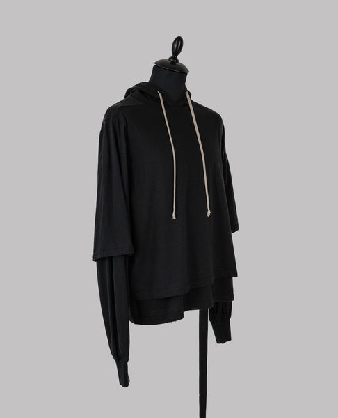 Rick Owens Black Double Layered Hooded Sweatshirt with Drawstrings