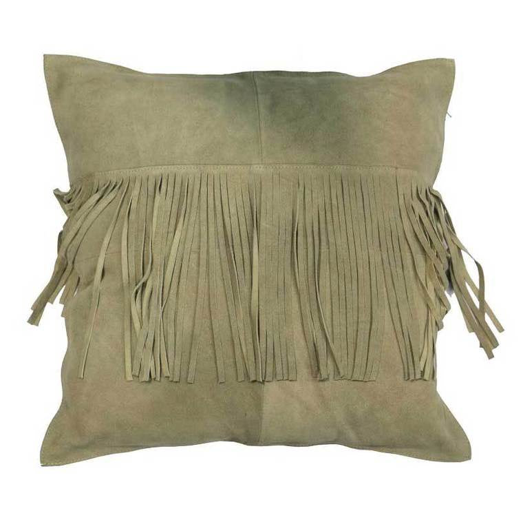 Suede Fringed Cushion - Fawn