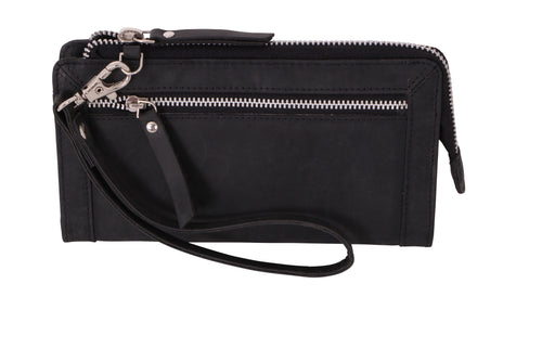 Avenue Hunteress Zip Leather Wallet - Black - Simply Special Invercargill