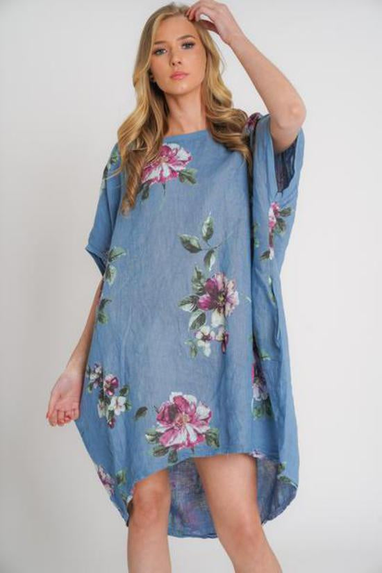 Adeline Linen Top/Dress Denim Blue