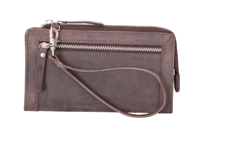 Avenue Hunteress Zip Leather Wallet - Brown - Simply Special Invercargill