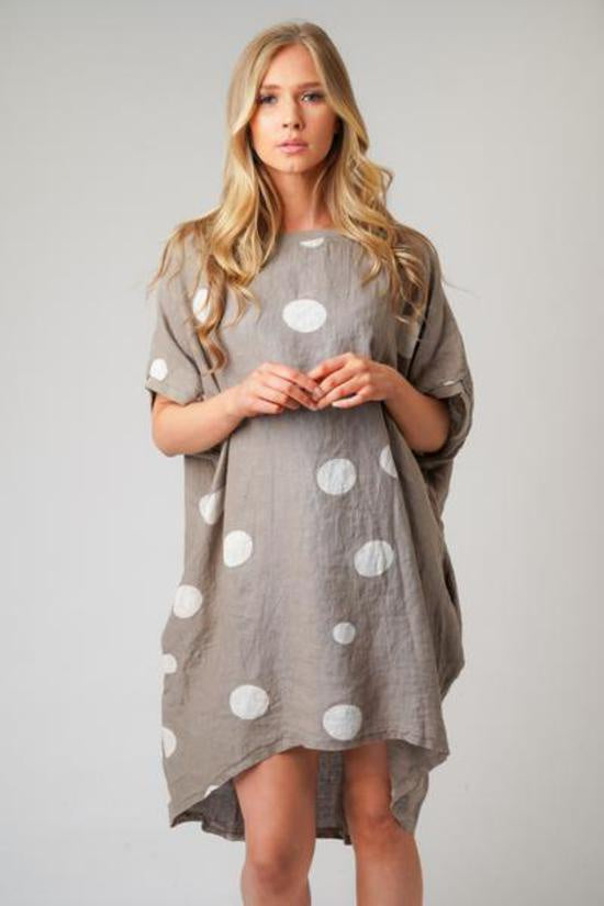 Gigi Linen Spotted Top/Dress Mocha