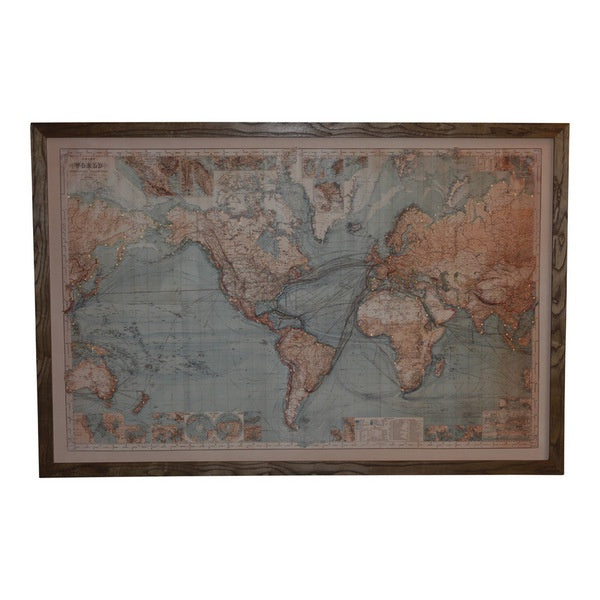 Framed World Map - Natural - Simply Special Invercargill