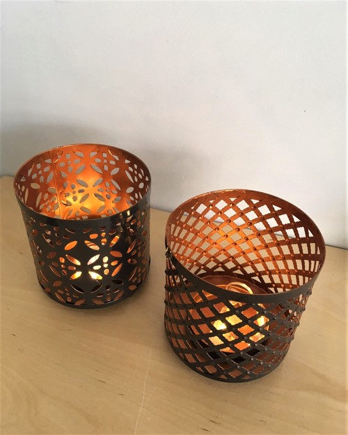 METAL GEOMETRIC CANDLE HOLDER asst. - Simply Special Invercargill