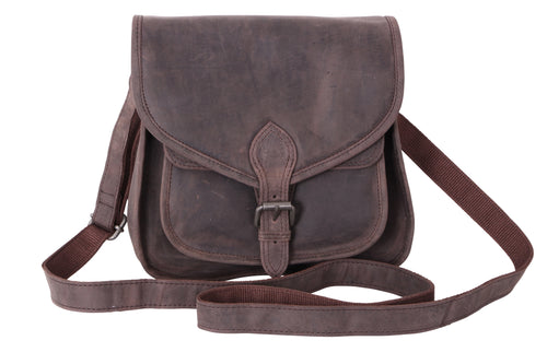 Hunter Leather Brown Cross Body Saddle Bag - Simply Special Invercargill