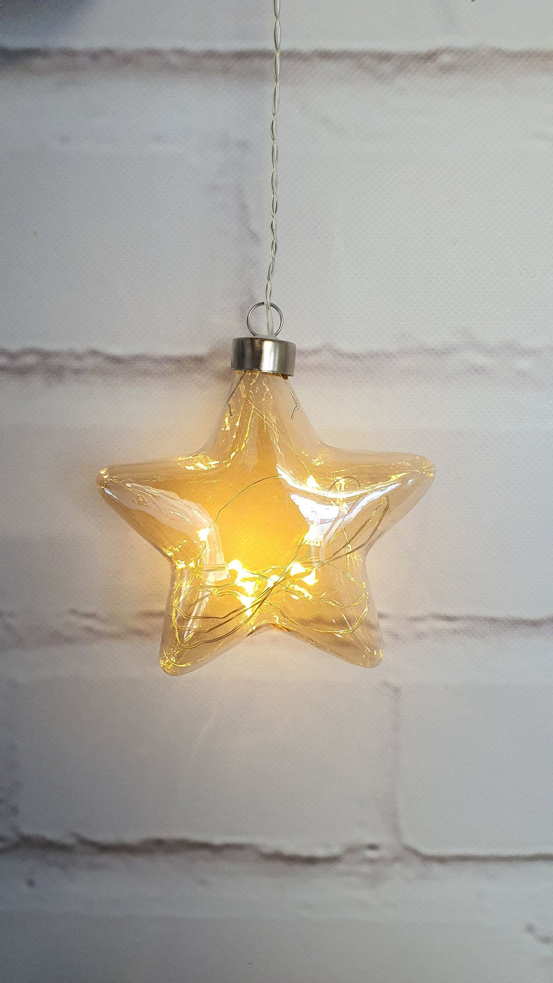 Champagne Hanging Glass Star w/seedlights