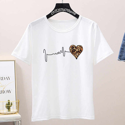 Pulse Heart Cotton T-shirt -WHITE