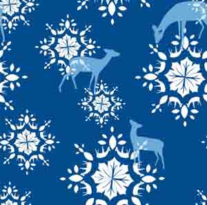 Deer Snowflakes - Printed Fleece by CDS - Blue