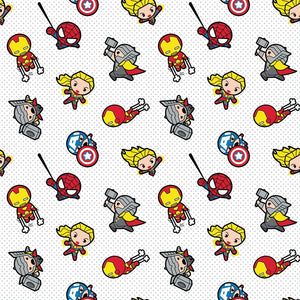 Marvel Kawaii Action Toss -70% Bamboo Rayon / 30% Cotton - Printed Flannel by Marvel<br>13020498H-01 White