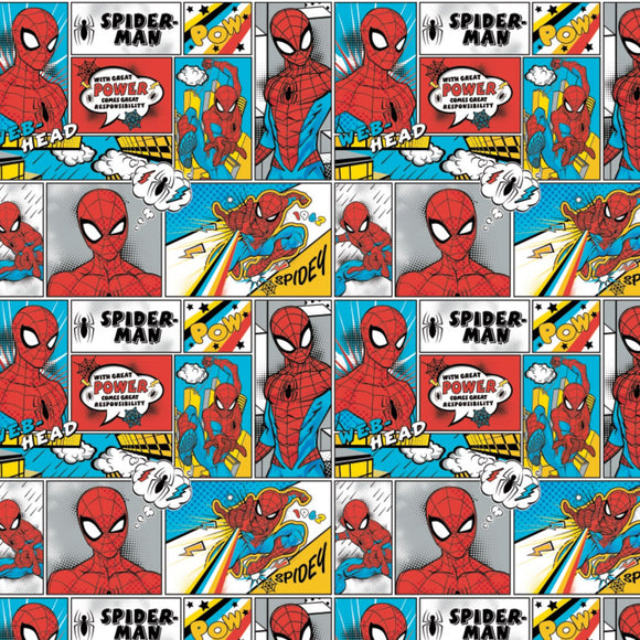 Spider-Man Comic Strip - Printed Flannel by Marvel Comics<br>13080021B-02 Bright