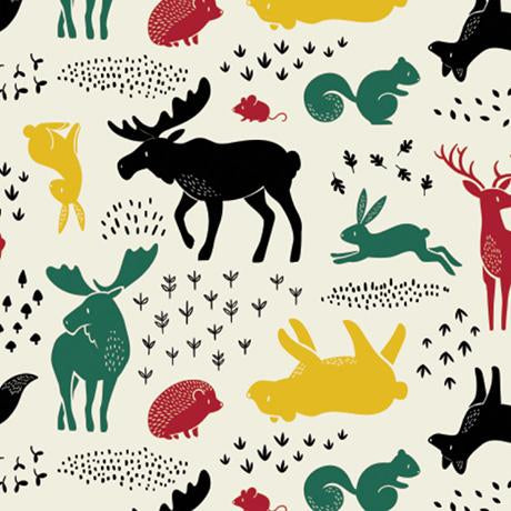Hudson - Forest Animals - Printed Flannel by CDS- Cream