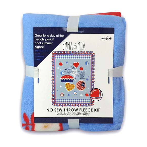 EMMA & MILA - American Pie - No Sew Throw - Fleece<br>21190584NSTWM-01 Blue