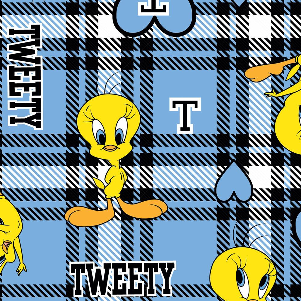 Tweety Collegiate Plaid - Printed Fleece by Warner Bros.