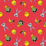 Tossed Faces - Printed Flannel by Looney Tunes