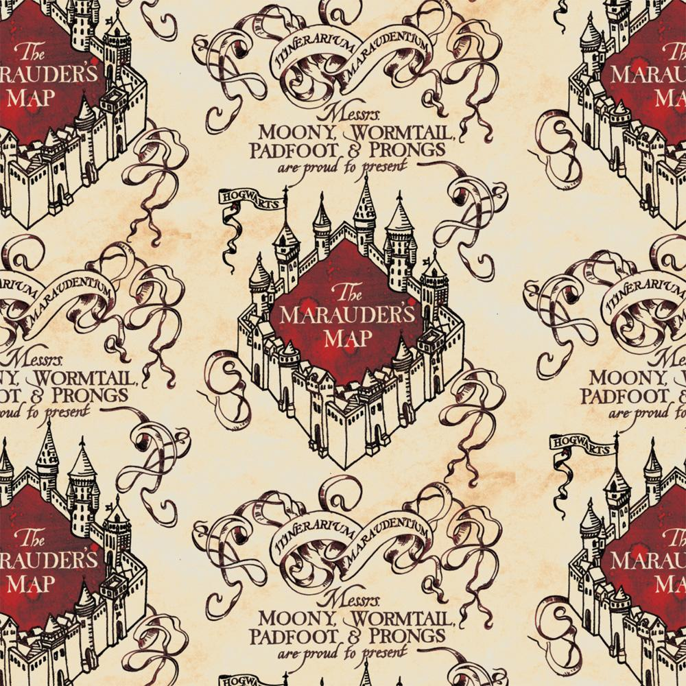 Marauder's Map Simplified - Printed Fleece by Harry Potter and Wizarding World - Tan