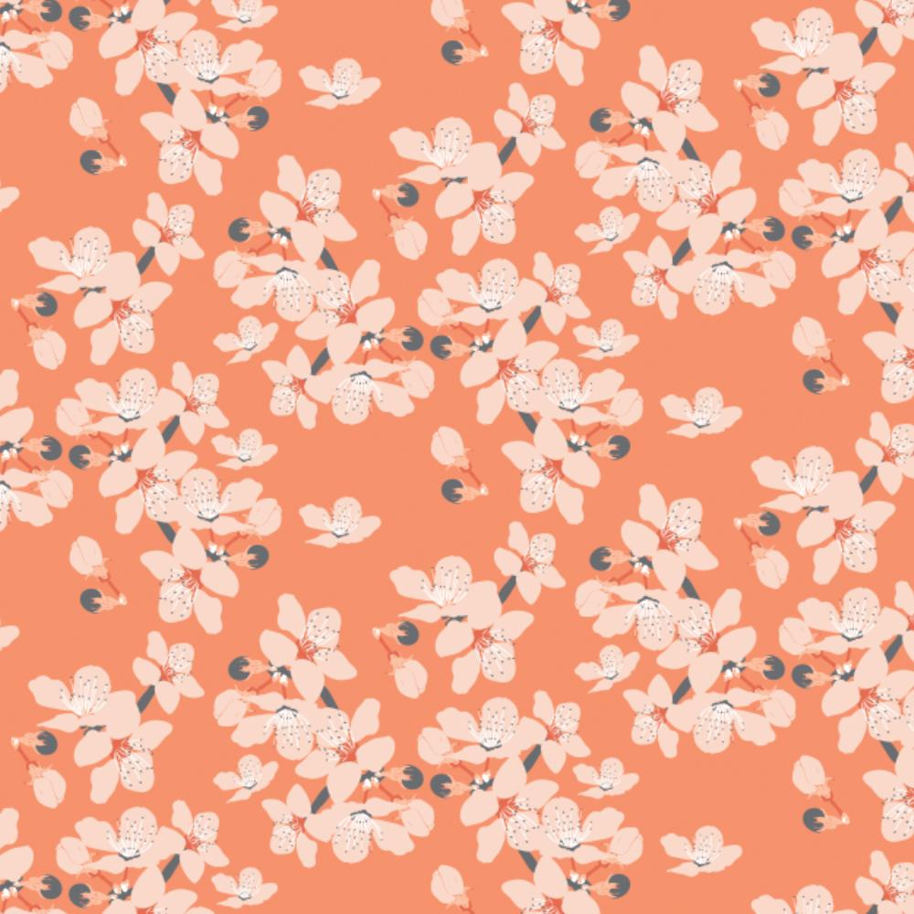 Black Swan by Teresa Chan - Scattered Florals- Orange