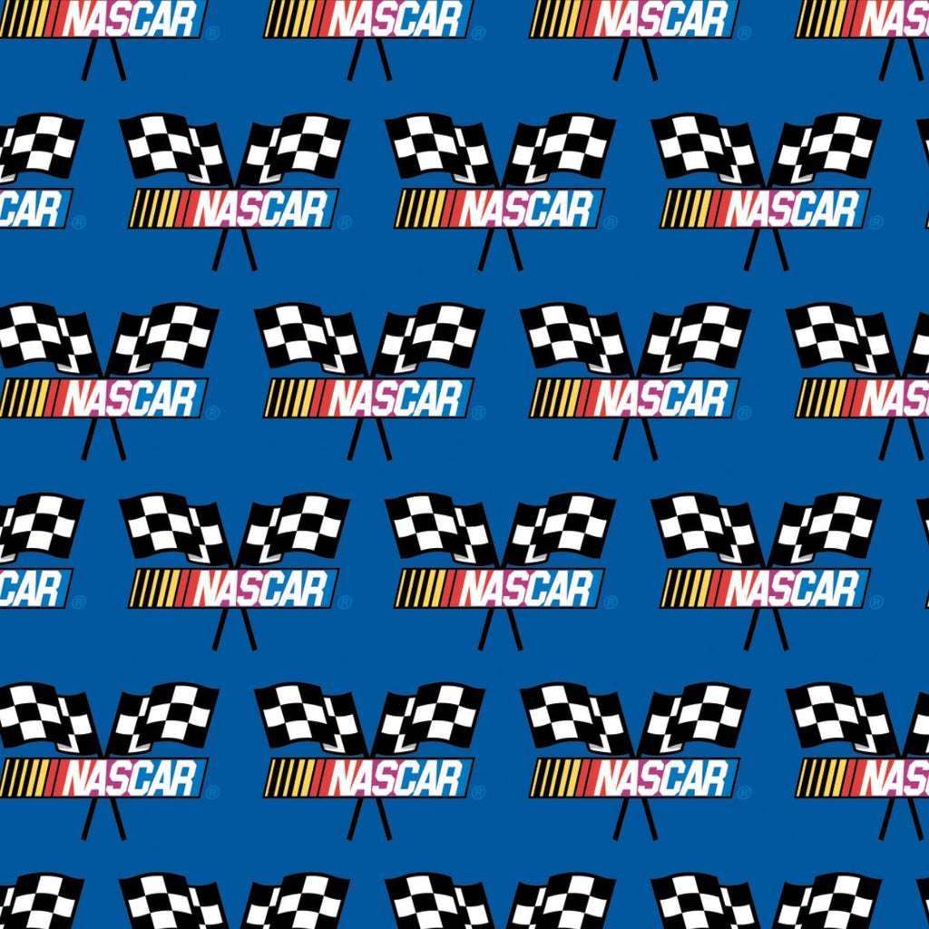 NASCAR - Checkered Flag - Printed Fleece by NASCAR- Blue