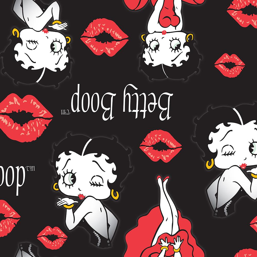 Betty Boop Blow a Kiss - Printed Fleece by King Features - Black
