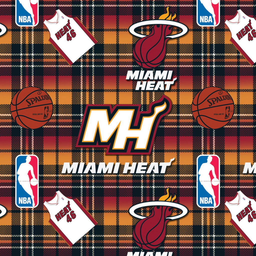 Miami Heat Plaid - Printed Fleece by NBA