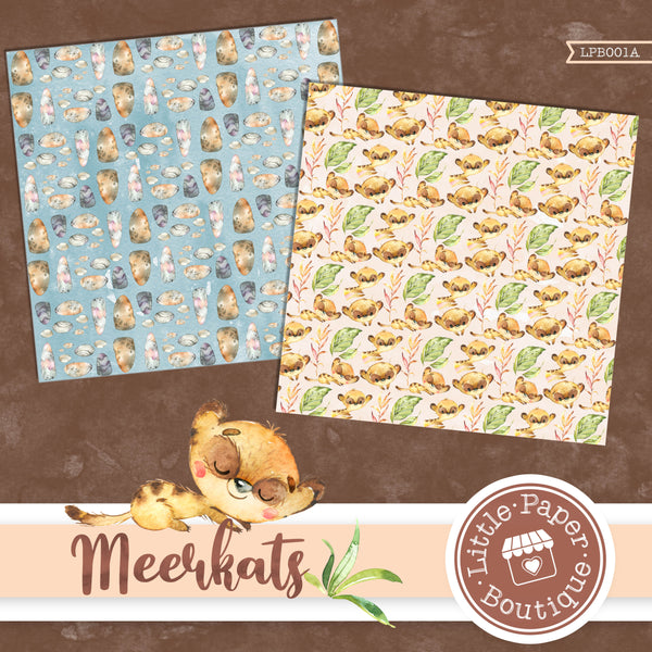 African Meerkat Watercolor Digital Paper LPB001A