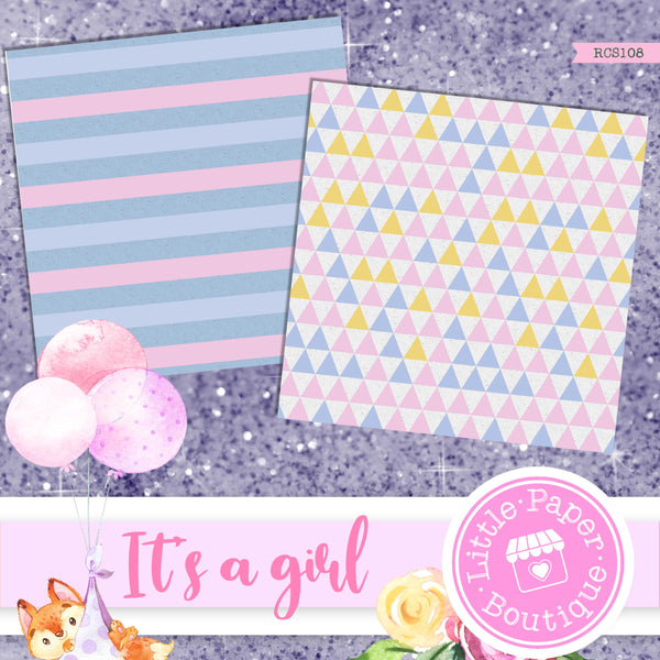 It's A Girl Digital Paper RCS108
