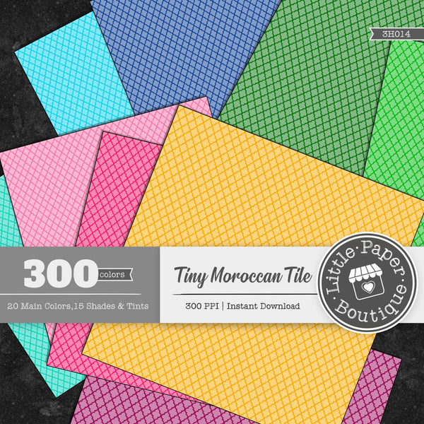 Rainbow Tiny Moroccan White Overlay Digital Paper 3H014