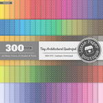 Rainbow Tiny Architectural Quatrefoil White Digital Paper 3H026