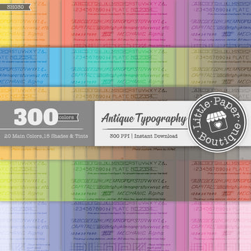 Rainbow Antique Typography Digital Paper 3H030