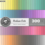 Rainbow Medium Dots Outline White Digital Paper 3H032