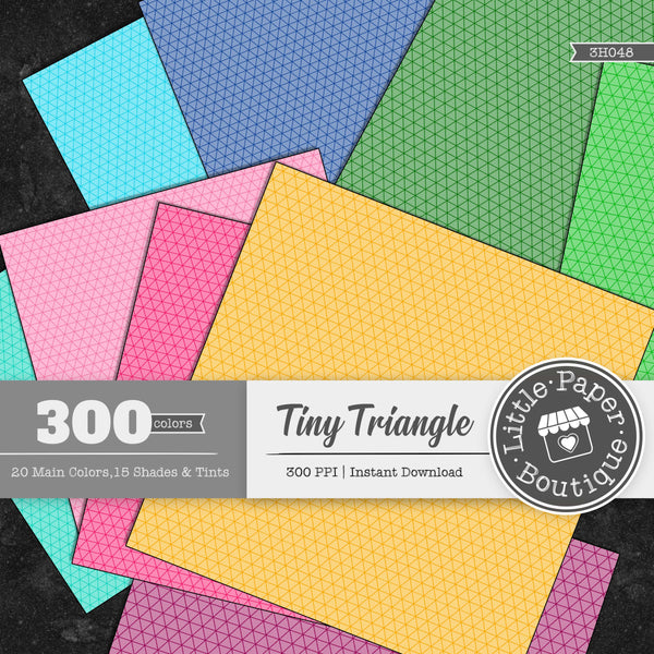 Rainbow Tiny Triangle Outline Overlay Digital Paper 3H048