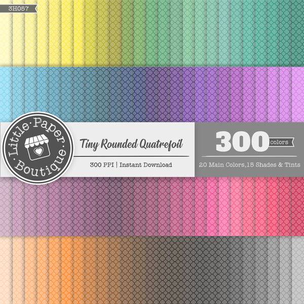 Rainbow Tiny Rounded White Quatrefoil Digital Paper 3H057