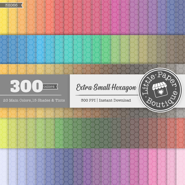 Rainbow Extra Small Outline Hexagon Digital Paper 3H066