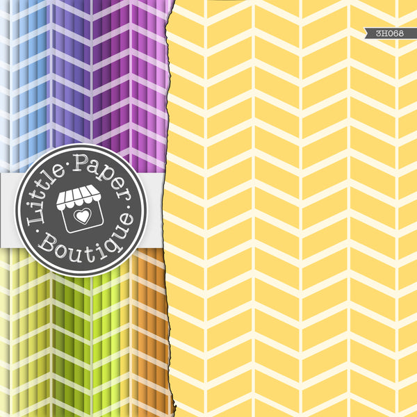 Rainbow Paper-Pieced Solid Chevron Digital Paper 3H068