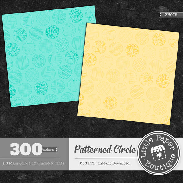 Rainbow Patterned Circle Overlay Digital Paper 3H076
