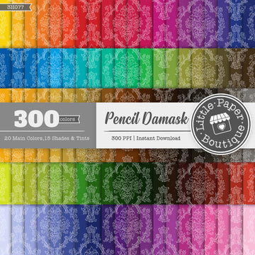 Rainbow Pencil Damask Solid Overlay Digital Paper 3H077
