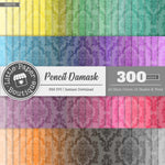 Rainbow Pencil Damask White Outline Digital Paper 3H078