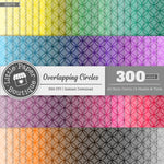 Rainbow Overlapping Circles White Outline Overlay Digital Paper 3H079