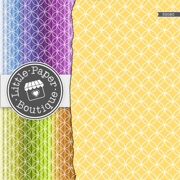 Rainbow Overlapping Circle Solid Overlay Digital Paper 3H080