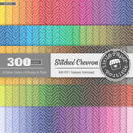 Rainbow Stitched Chevron Overlay Digital Paper 3H082